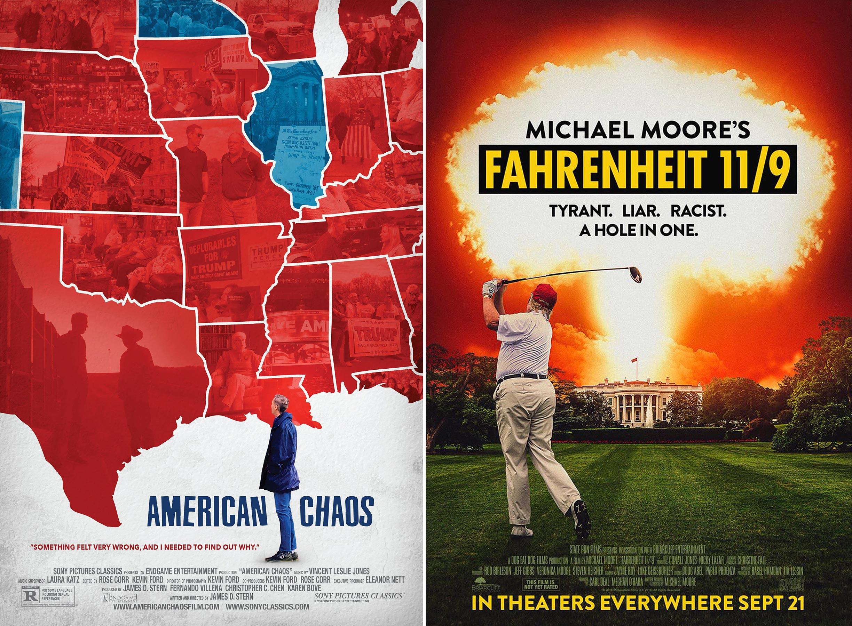 پوستر دو فیلم مستند «فارنهایت یازدهنه» و «آشوب در آمریکا»