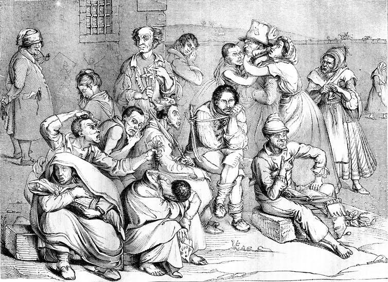 تصویری از یک تیمارستان عصر ویکتوریا از دید نقاشی در همان دوره